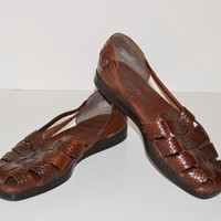 Vintage 1980s woven leather Huaraches Brown slip on shoes size 7 M Naturalizer Flat Shoes