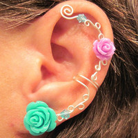 No Piercing Ear Cuff  &quot;Roses are Colorful&quot; Cartilage Conch Cuff Silver tone Prom