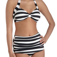 Esther Williams Snack Bar Beauty Two Piece in Black | Mod Retro Vintage Bathing Suits