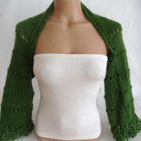 Hand knitted crochetted green long sleeve bolero shrug by Arzu's Style