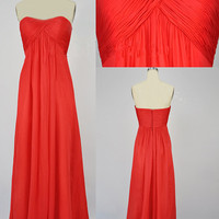 2013 Cheap New Style Strapless Sweetheart Long Red Chiffon Prom Bridesmaid Evening Dresses