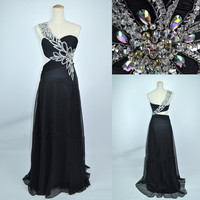 2013 Cheap New Style One Shoulder Sweetheart with Beading Chiffon Long Black Prom Evening Dresses