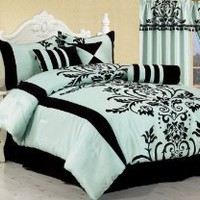 Chezmoi Collection 7-Piece Aqua with Blue and Black Flocking Bed-in-a-Bag Comforter Set