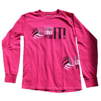 Live It! Love It! Play It! Volleyball Long Sleeve T-shirt - Pink - Lucky Dog Volleyball