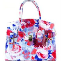 EA Floral Print Pattern Satchel Made In Italy - EA Handbags New Summer Collection - Modnique.com