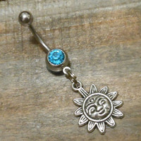 Belly Button Ring, Sun Belly Ring with light blue gem - Body Jewelry