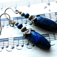 Winter Sky - Lapis Lazuli, Dark Blue, Sky, Night, Copper, Beaded, Earrings - Sale - Was 20.00 - Now 18.00