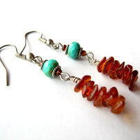 Spring Earrings - Spring Flowers - Amber & Turquoise Glass Earrings