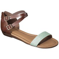 Women&#x27;s Merona Elba Silver Wedge Sandal with Back Counter - Mint