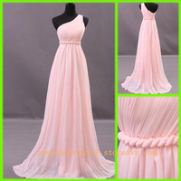 Simple Chiffon Floor-length pink prom dress