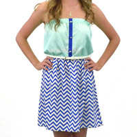 Rossi Pointe Mint &amp; Royal Chevron Tube Dress