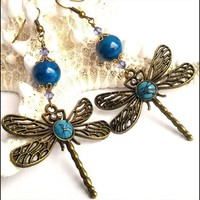 Antique Brass Dragonfly Filigree Earrings Faux Turquoise Cabochon