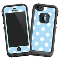 White Polka Dot on Baby Blue Skin  for the iPhone 5 Lifeproof Case by skinzy.com