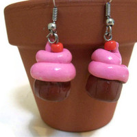 Pink Cupcake Earrings, Cupcake Jewelry, Kawaii accessories, Kawaii jewelry,
