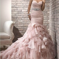 Blush pink ruffle mermaid skirt wedding bridesmaid evening prom gown