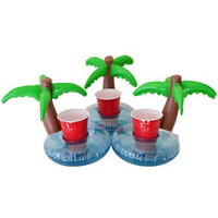 Inflatable Palm Island Floating Cup Holders - Set of 3