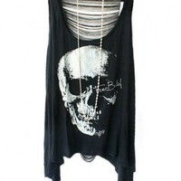 Punk Style Skeleton Print T-shirts with Sexy Fringe Back