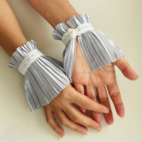 Bridal Wrist Cuffs: Pastel Grey Pleated Satin Fingerless Gloves. Handmade and Unique Design.