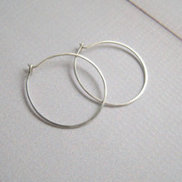 Sterling Silver Hoop Earrings 1 inch to 1.25 inch Every day Hoop earrings