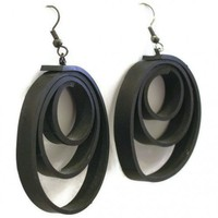 Bicycle Tube Hoop Earrings - Ships in 72 hrs of payment | ReclaimedWreckage - Jewelry on ArtFire