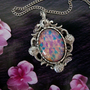 SPRING ROMANCE NECKLACE, Large Glass Opal Cabochon With Unique Silver Ox Setting