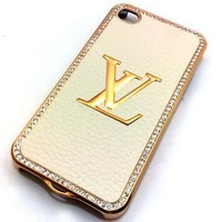 Designer LV Iphone 4/4s Hard Bling Leather Case with Shell Case (Cream Gold): Cell Phones & Accessories