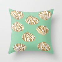 Scallop Shells in Green Throw Pillow by Rosie Brown