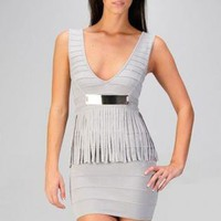 Gray Peplum Fringe Sleeveless Bandage Dress
