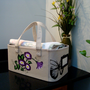 Purple Flowered Storage Tote Basket Organizer
