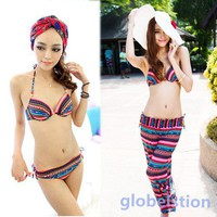 3 Pieces Striped Bikini w/Pant Padded Up Women's Ethnic Style Swim Bathing Suit