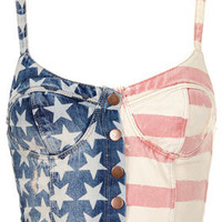MOTO Flag Print Denim Bralet - Denim  - Clothing