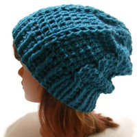 Crochet Cabled Slouchy Beanie Hat in Peacock Blue Wool