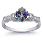 Rhodium Plated Sterling Silver Wedding &amp; Engagement Ring Rainbow Topaz CZ Claddagh Ring 9MM ( Size 4 to 10): Jewelry