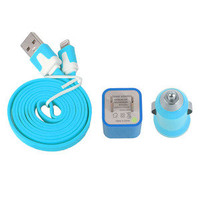 jullygo — 3pcs/Lot!1m 1PCS USB Cord 1PCS USB Power Adapter Wall Charger and 1Pcs Car Charger For Iphone 4/4s/5