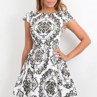 Black White Skater Foral Paisley Print Dress, Vintage Style