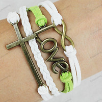 cross infinite&love braclets-green whitewhite leather bracelets personalized bracelets mens gifts N 260