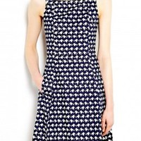 Whirling Navy and White Eyelet Dress by Theory