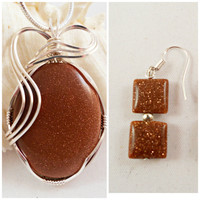 Wire Wrapped Stone Pendant and Earrings, Brown Sandstone, Wire Wrap Handmade Jewelry