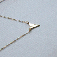 Gold Plated Triangle Necklace Geometric Arrow necklace Simple layering jewelry