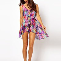 ASOS Penelope Floral Swing Beach Dress with Hi Low Hem at asos.com