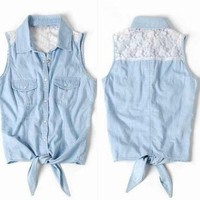 Fashion Lace Sleeveless Shirt Vest