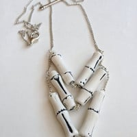 Vintage Lucite Chevron Bone Necklace