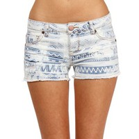 White/Denim Tribal Shorts