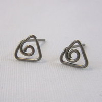 Triangle Spiral Niobium Wire Post Earrings Nickel Free