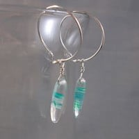 Argentium Silver Hoop Earrings with Green and Clear Glass Dangle