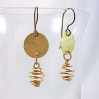 Brass Disk Earrings with Wire Spiral Dangles and Niobium Earwires