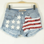 Red and white piece of the American flag pattern denim hot pants