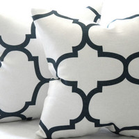 Designer Decorative natural White and jet black quatrefoil throw pillow 18 x 18