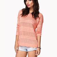 Striped Open-Knit Sweater | FOREVER 21 - 2049257140