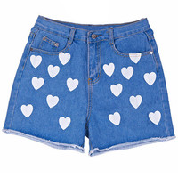 ROMWE | &quot;Contrasting Heart&quot; Blue Shorts, The Latest Street Fashion